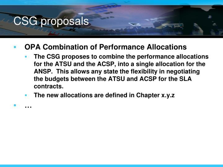 CSG proposals