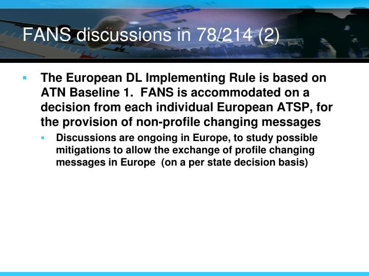 FANS discussions in 78/214 (2)
