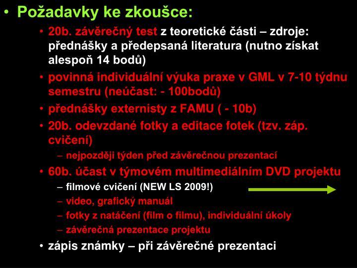 Požadavky ke zkoušce: