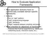how to evaluate application frameworks