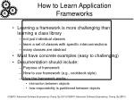 how to learn application frameworks