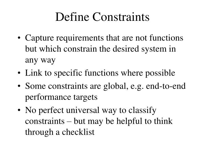 Define Constraints