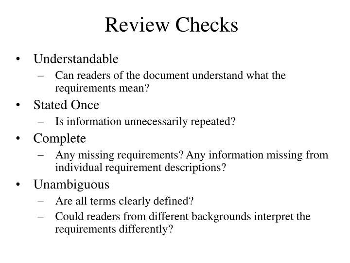 Review Checks