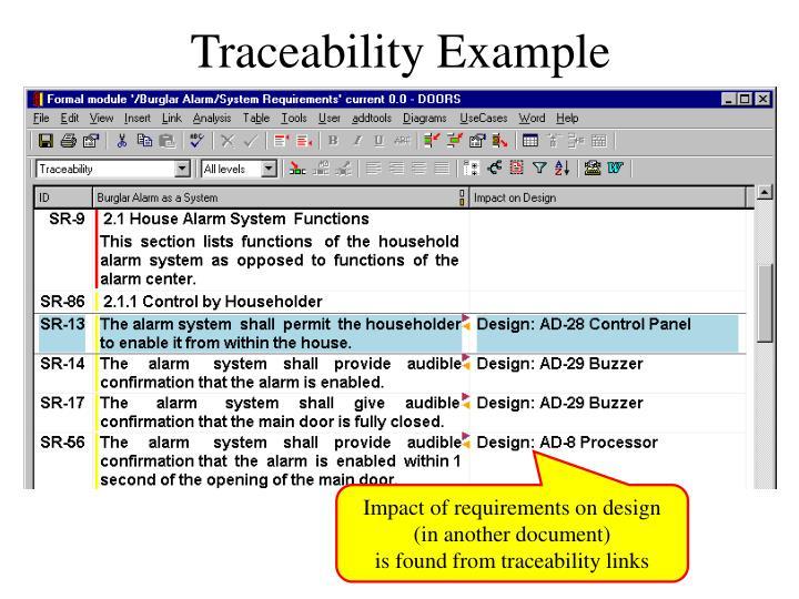 Traceability Example