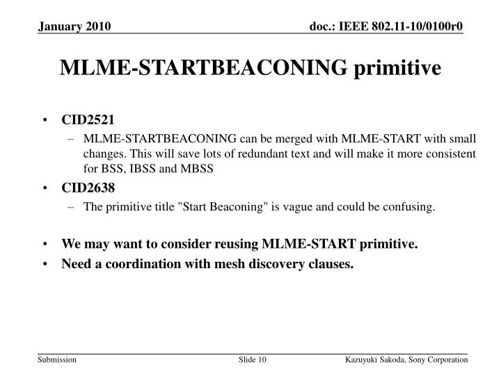 MLME-STARTBEACONING primitive