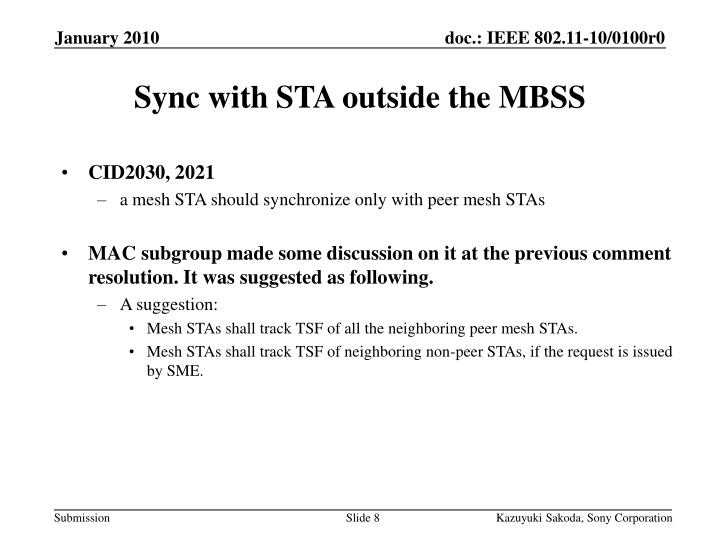 Sync with STA outside the MBSS