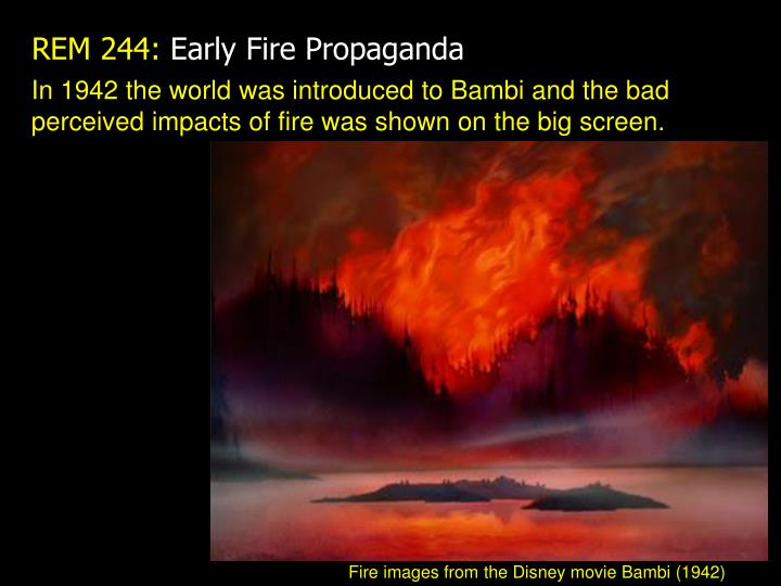 In 1942 the world was introduced to Bambi and the bad perceived impacts of fire was shown on the big screen.