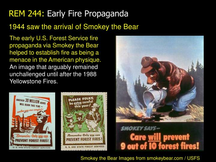 1944 saw the arrival of Smokey the Bear