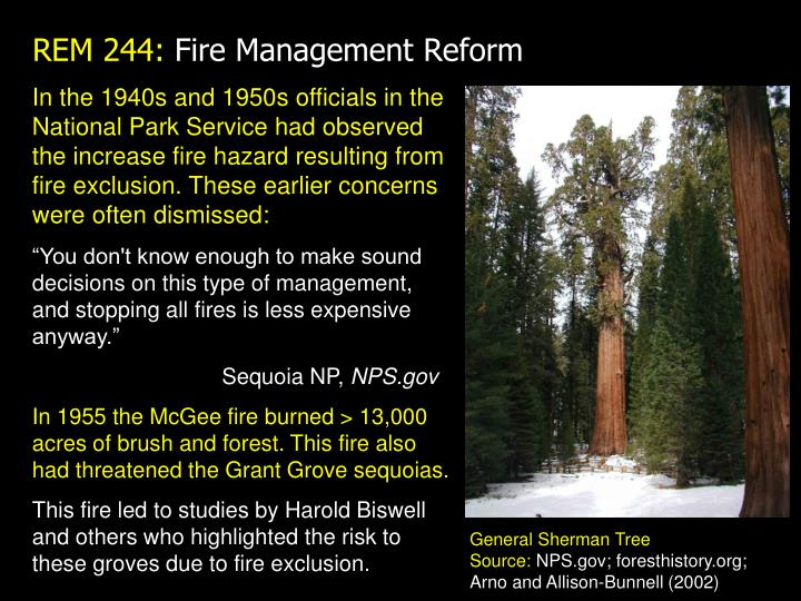 In the 1940s and 1950s officials in the National Park Service had observed the increase fire hazard resulting from fire exclusion. These earlier concerns were often dismissed: