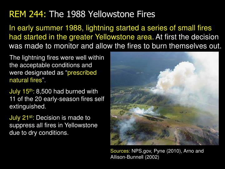 In early summer 1988, lightning started a series of small fires had started in the greater Yellowstone area.