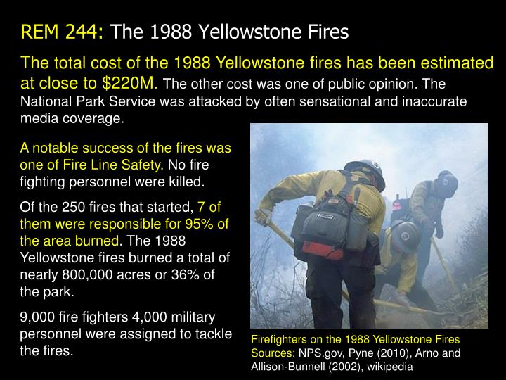 The total cost of the 1988 Yellowstone fires has been estimated at close to $220M.