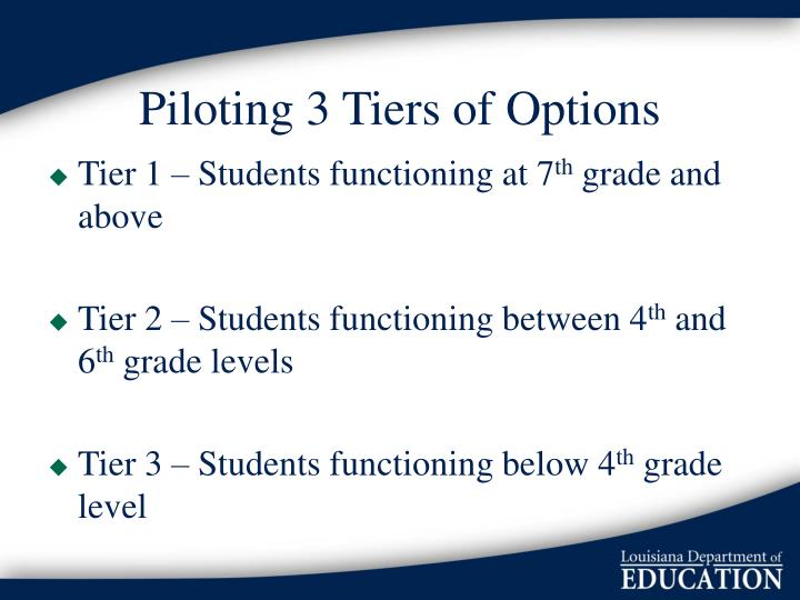 Piloting 3 Tiers of Options