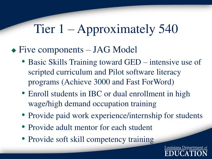 Tier 1 – Approximately 540