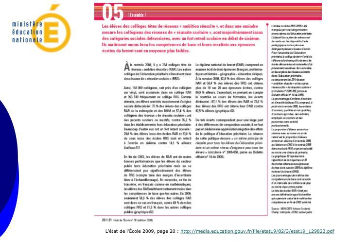 L'état de l'École 2009, page 20 :