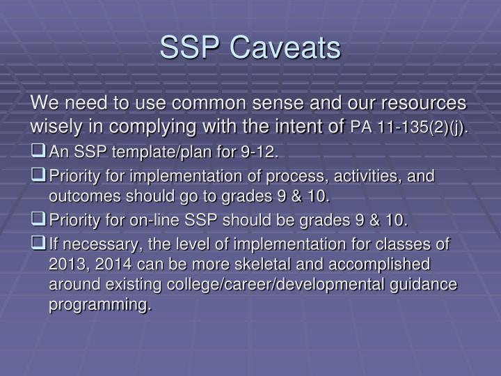 SSP Caveats