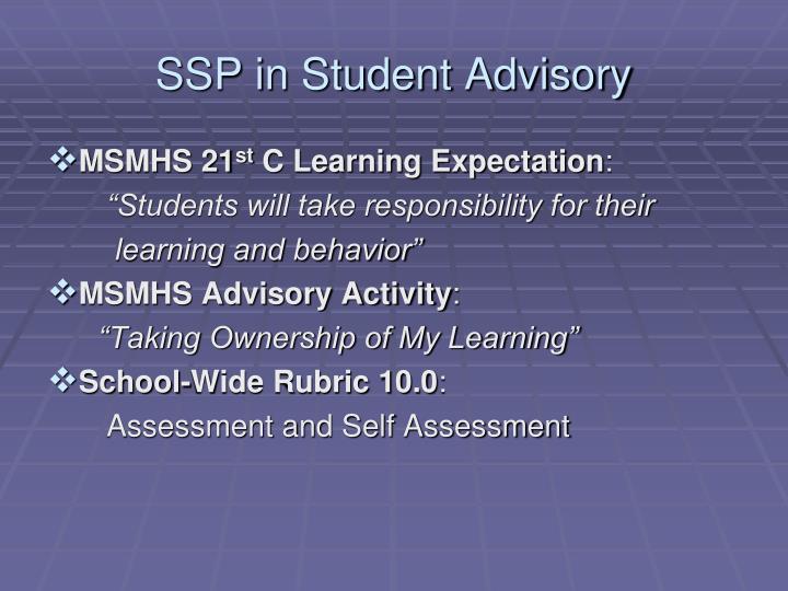 SSP in Student Advisory