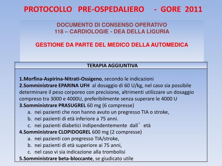 PROTOCOLLO   PRE-OSPEDALIERO     -  GORE  2011
