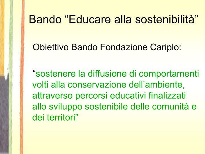 """Bando """"Educare alla sostenibilità"""""""