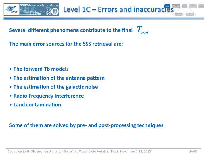 Level 1C – Errors and inaccuracies