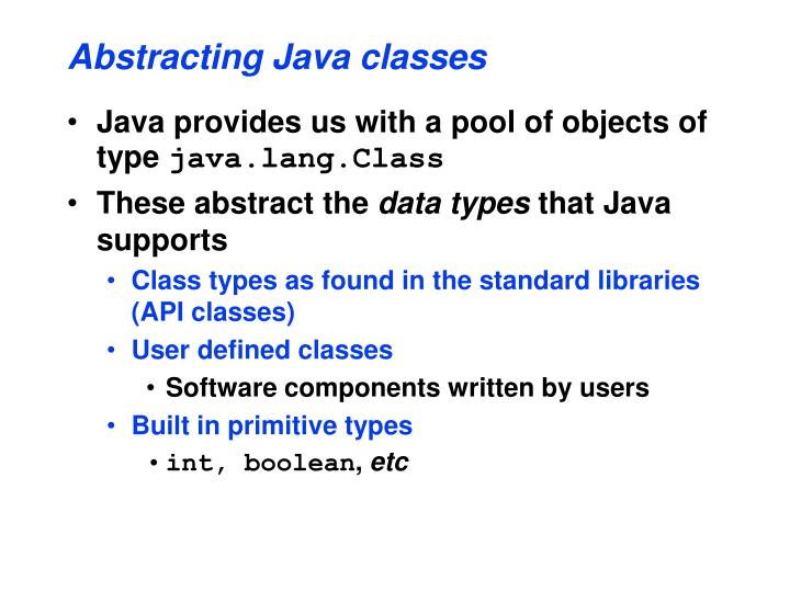 Abstracting Java classes