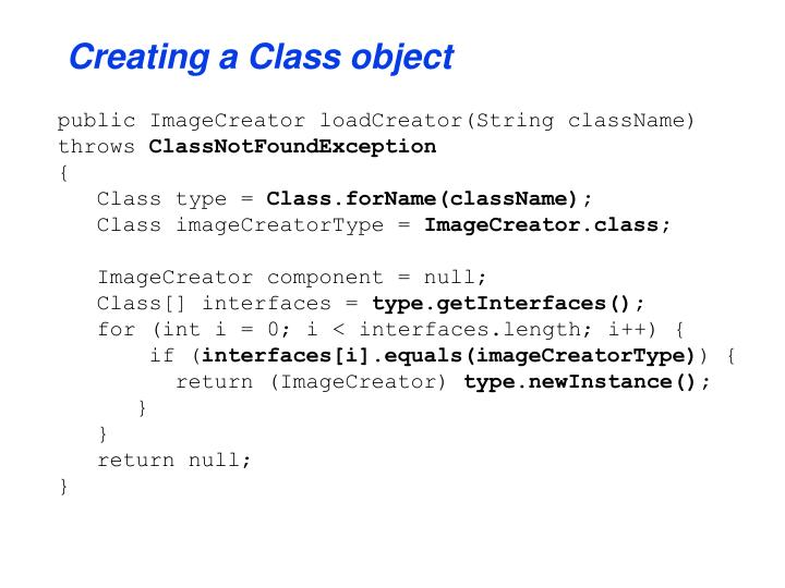 Creating a Class object