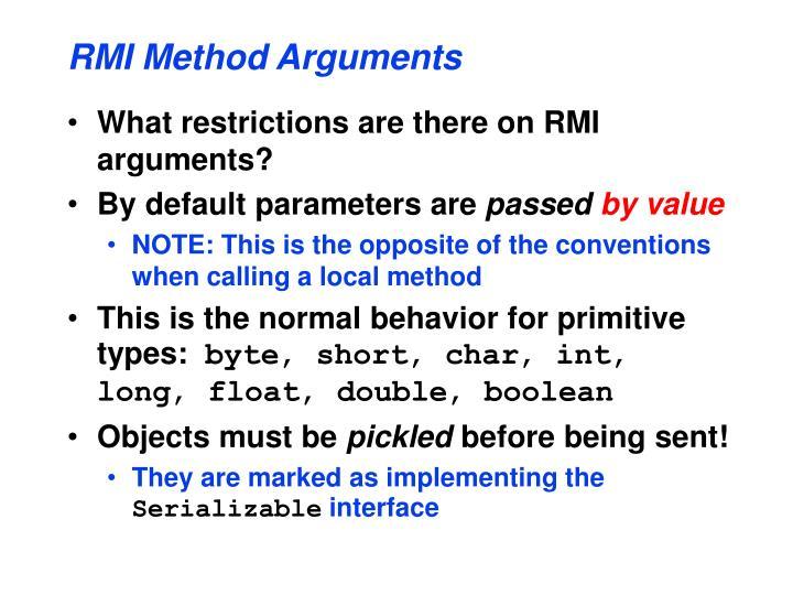 RMI Method Arguments