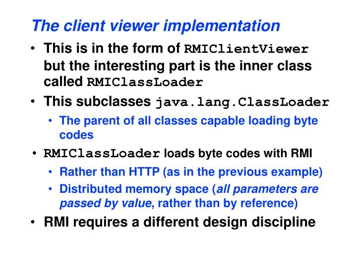 The client viewer implementation