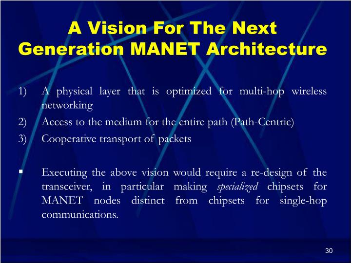 A Vision For The Next Generation MANET Architecture