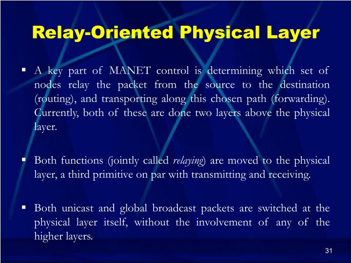 Relay-Oriented Physical Layer