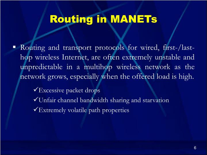 Routing in MANETs