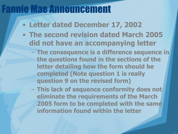 Fannie Mae Announcement