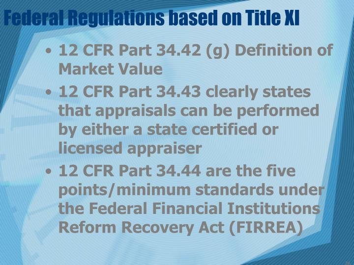 Federal Regulations based on Title XI