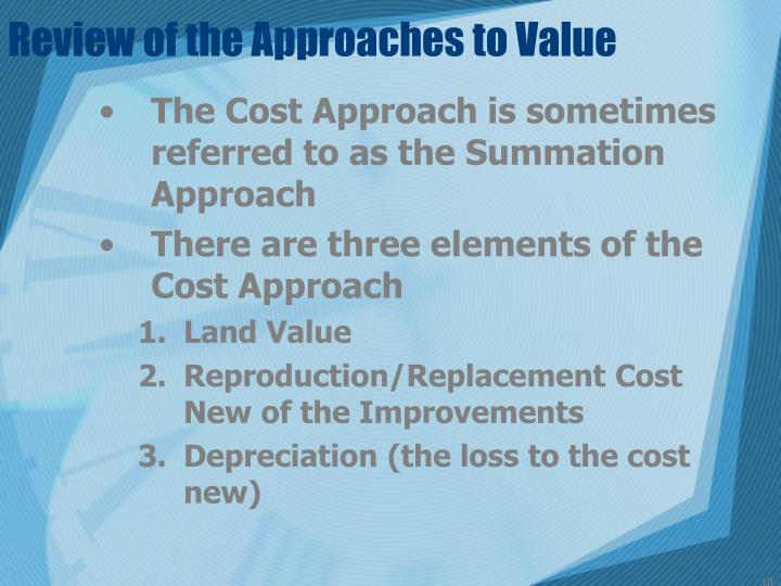 Review of the Approaches to Value