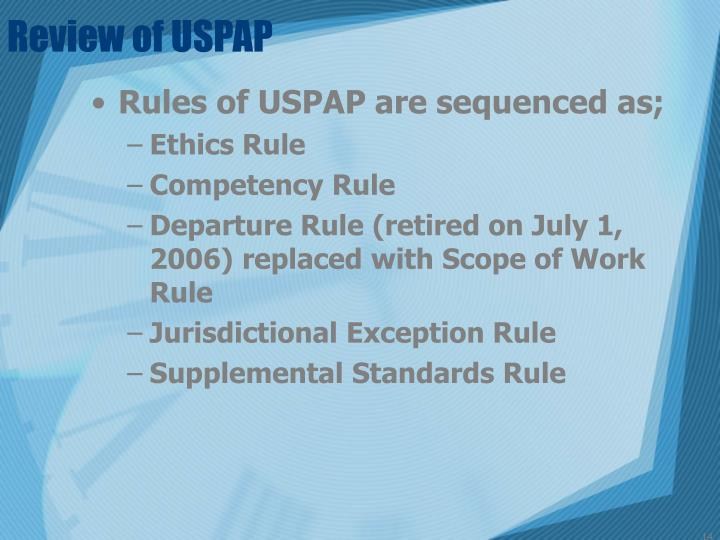 Review of USPAP