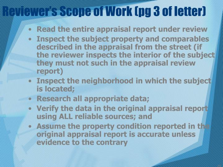 Reviewer's Scope of Work (pg 3 of letter)