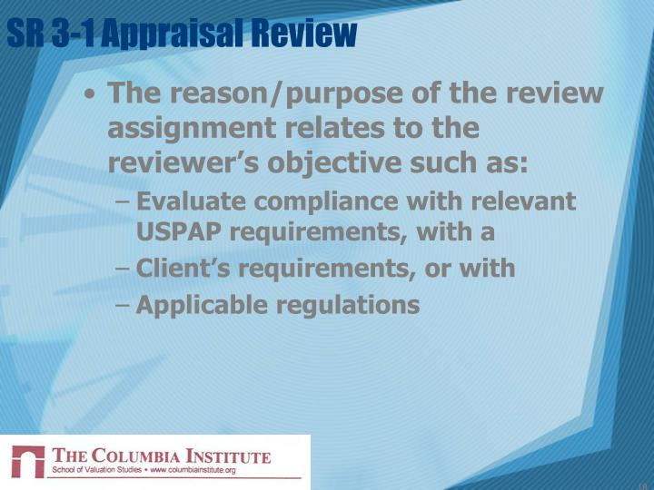 SR 3-1 Appraisal Review