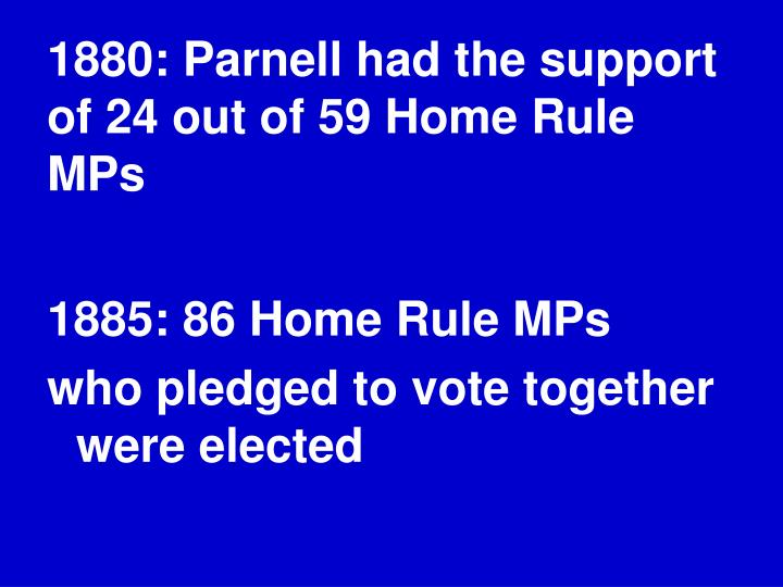 1880: Parnell had the support of 24 out of 59 Home Rule MPs