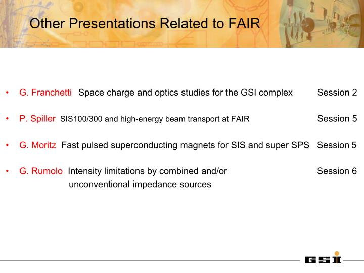 Other presentations related to fair