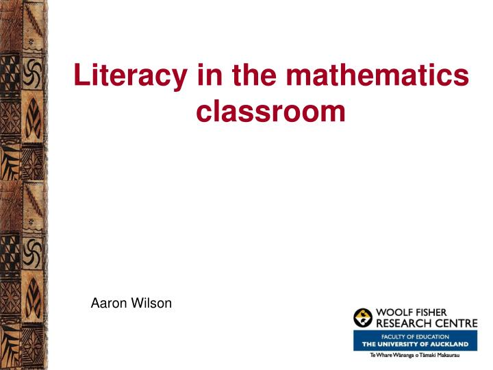 literacy in the mathematics classroom n.