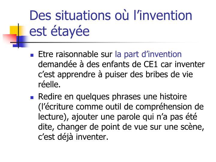 Des situations où l'invention est étayée