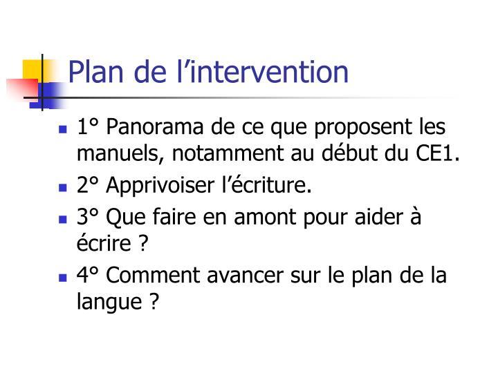 Plan de l intervention