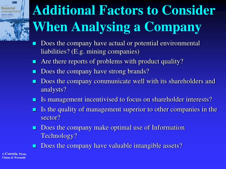 Additional Factors to Consider When Analysing a Company