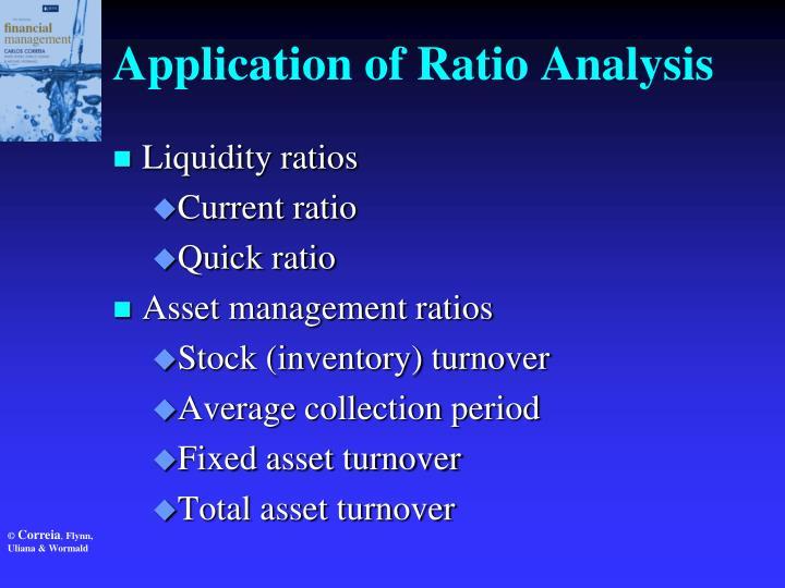 Application of Ratio Analysis