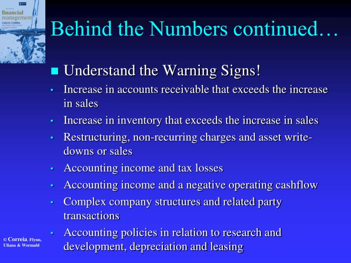 Behind the Numbers continued…