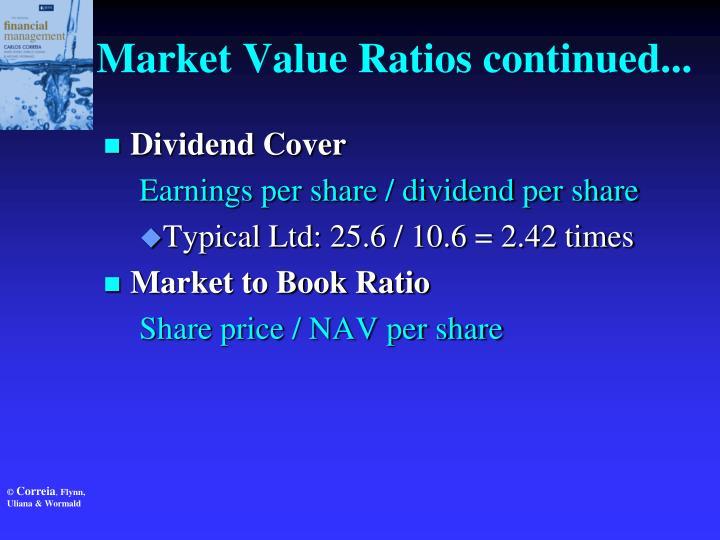 Market Value Ratios continued...