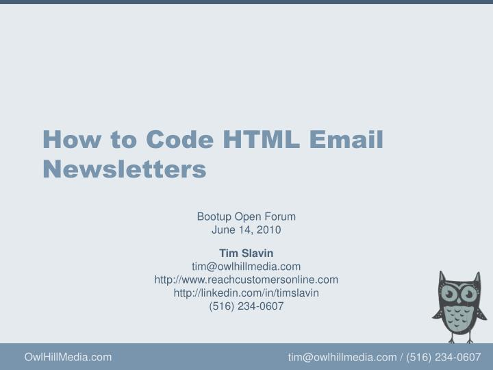 how to code html email newsletters n.