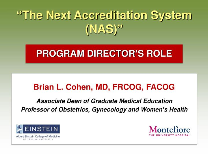 the next accreditation system nas n.