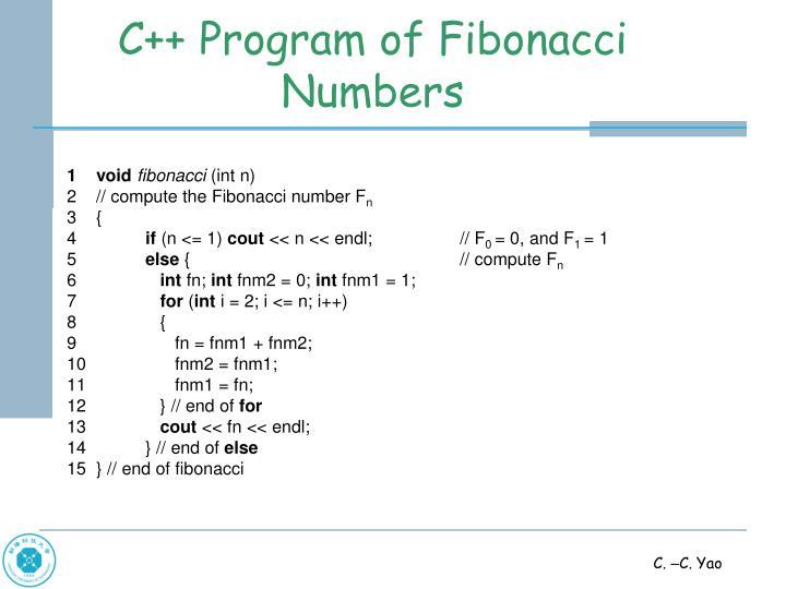 C++ Program of Fibonacci Numbers