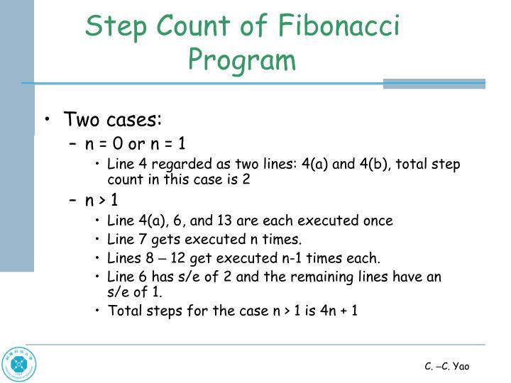 Step Count of Fibonacci Program