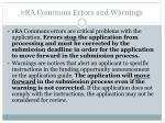 era commons errors and warnings